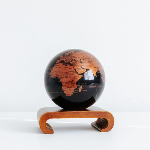 "Black and Copper MOVA Globe 4.5"" with Arched Base Dark Wood"