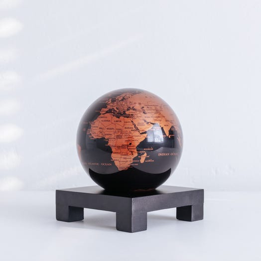 "Black and Copper MOVA Globe 4.5"" with Square Base Black"