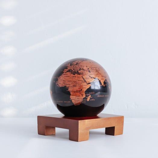 "Black and Copper MOVA Globe 4.5"" with Square Base Dark Wood"
