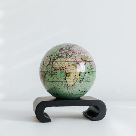 "Antique Terrestrial Green MOVA Globe 4.5"" with Arched Base Black"