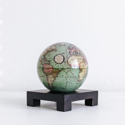"Antique Terrestrial Green MOVA Globe 4.5"" with Square Base Black"
