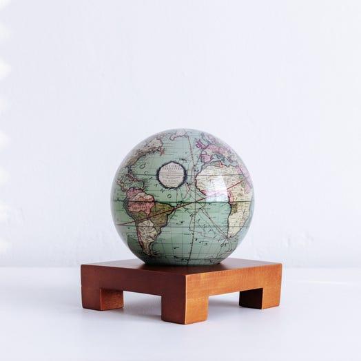 "Antique Terrestrial Green MOVA Globe 4.5"" with Square Base Dark Wood"