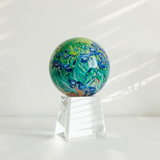 "Van Gogh Irises MOVA Globe 4.5"" with Crystal Base Tall"