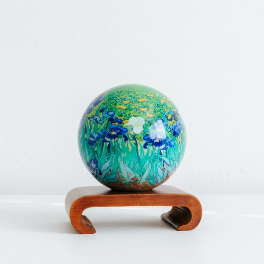 "Irises MOVA Globe 4.5"" with Arched Base Dark Wood"