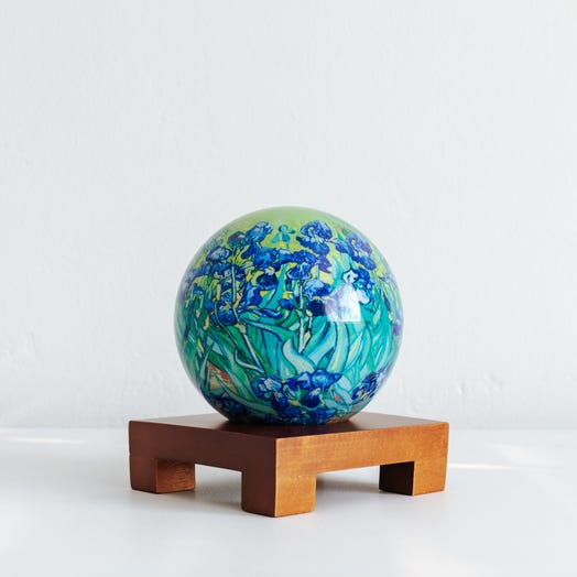 "Irises MOVA Globe 4.5"" with Square Base Dark Wood"