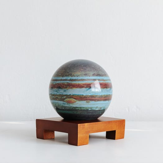 "Jupiter MOVA Globe 4.5"" with Square Base Dark Wood"