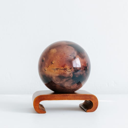 "Mars MOVA Globe 4.5"" with Arched Base Dark Wood"