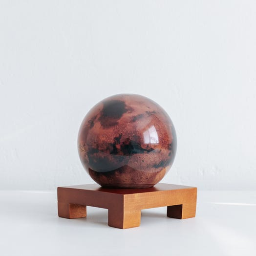 "Mars MOVA Globe 4.5"" with Square Base Dark Wood"