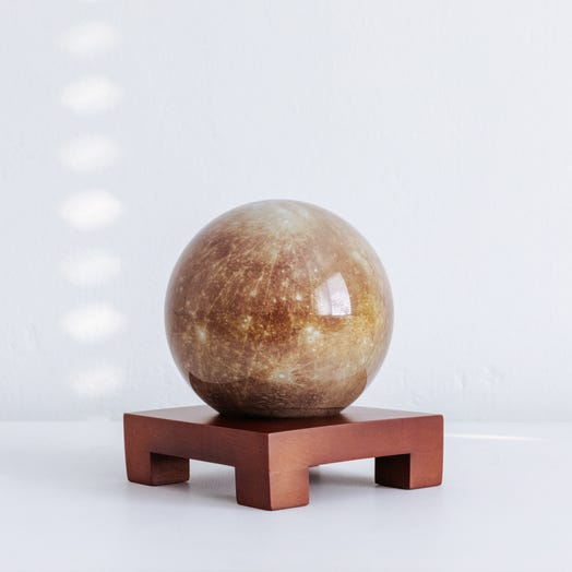 "Mercury MOVA Globe 4.5"" with Square Base Dark Wood"