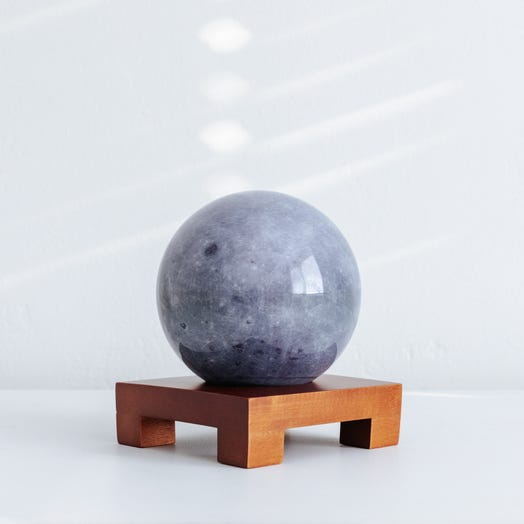 "Moon MOVA Globe 4.5"" with Square Base Dark Wood"