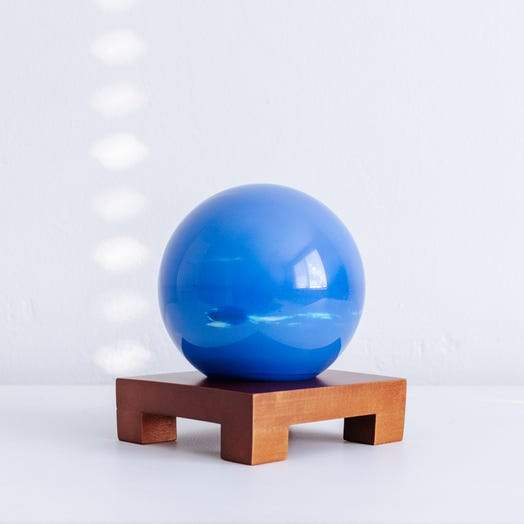"Neptune MOVA Globe 4.5"" with Square Base Dark Wood"