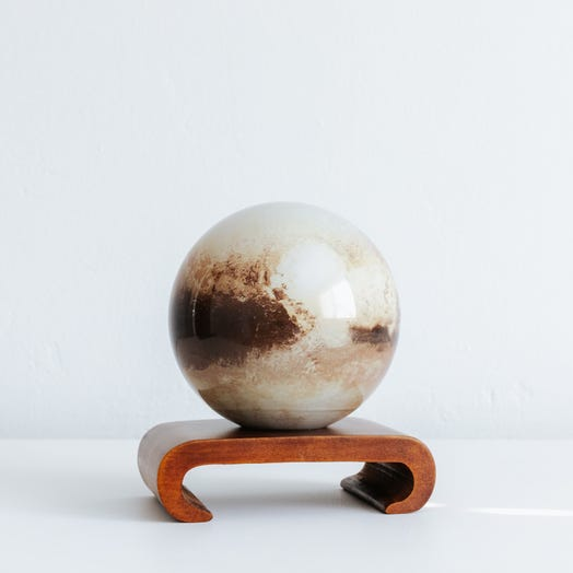 "Pluto MOVA Globe 4.5"" with Arched Base Dark Wood"