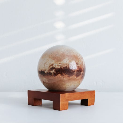 "Pluto MOVA Globe 4.5"" with Square Base Dark Wood"