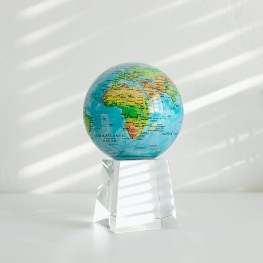 """Relief Map Blue MOVA Globe 4.5"""" with Crystal Base Tall"""