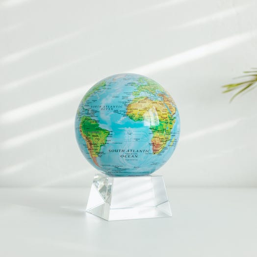 """Relief Map Blue MOVA Globe 4.5"""" with Crystal Base"""