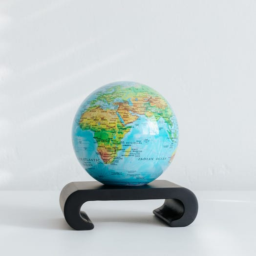 "Relief Map Blue MOVA Globe 4.5"" with Arched Base Black"