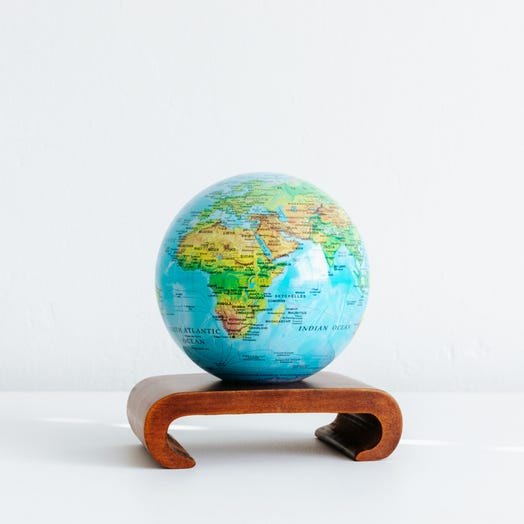 "Relief Map Blue MOVA Globe 4.5"" with Arched Base Dark Wood"