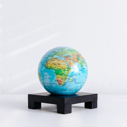 "Relief Map Blue MOVA Globe 4.5"" with Square Base Black"