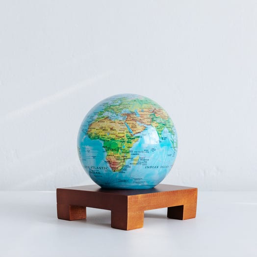 "Relief Map Blue MOVA Globe 4.5"" with Square Base Dark Wood"