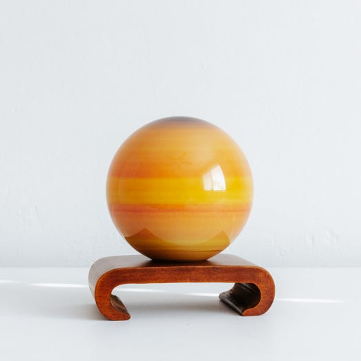 "Saturn MOVA Globe 4.5"" with Arched Base Dark Wood"