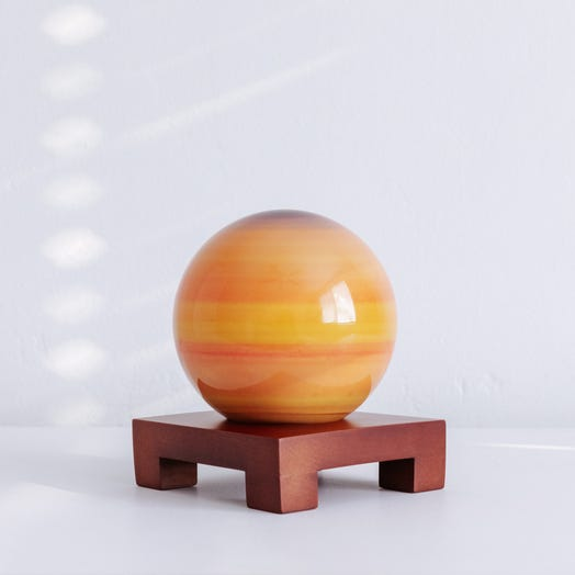 "Saturn MOVA Globe 4.5"" with Square Base Dark Wood"