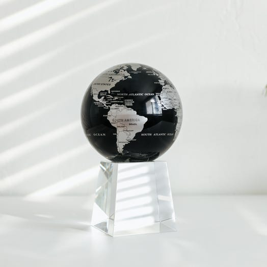 "Black and Silver MOVA Globe 4.5"" with Crystal Base Tall"