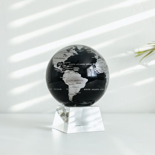 "Black and Silver MOVA Globe 4.5"" with Crystal Base"