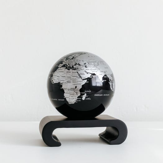 "Black and Silver MOVA Globe 4.5"" with Arched Base Black"