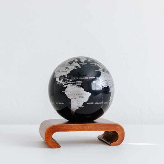 "Black and Silver MOVA Globe 4.5"" with Arched Base Dark Wood"