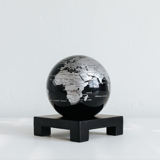 "Black and Silver MOVA Globe 4.5"" with Square Base Black"