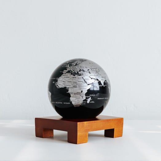 "Black and Silver MOVA Globe 4.5"" with Square Base Dark Wood"