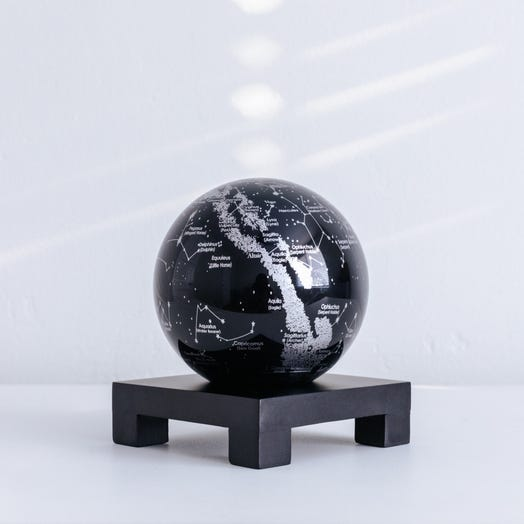 "Constellations MOVA Globe 4.5"" with Square Base Black"