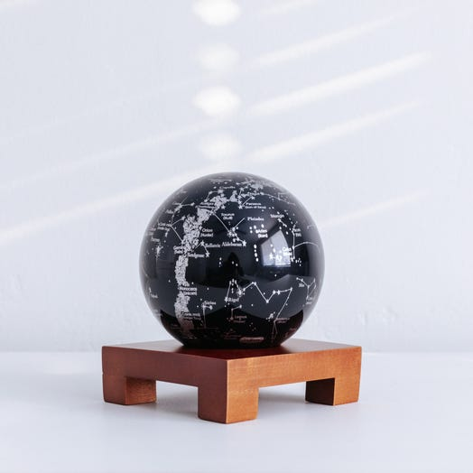 "Constellations MOVA Globe 4.5"" with Square Base Dark Wood"
