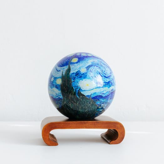 "Starry Night MOVA Globe 4.5"" with Arched Base Dark Wood"