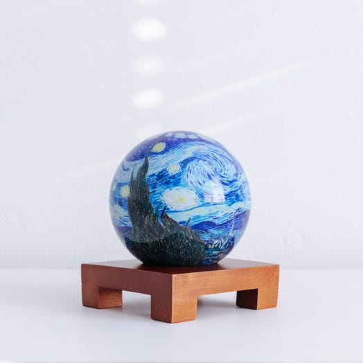 "Starry Night MOVA Globe 4.5"" with Square Base Dark Wood"