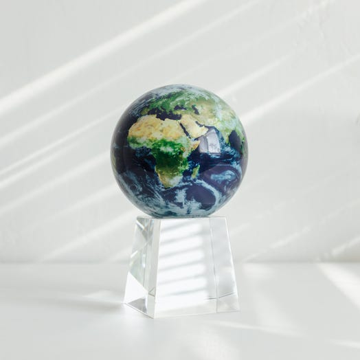 """Earth with Clouds MOVA Globe 4.5"""" with Crystal Base Tall"""