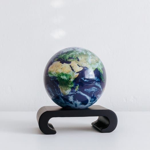 "Earth with Clouds MOVA Globe 4.5"" with Arched Base Black"