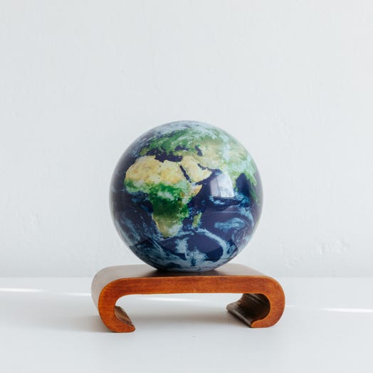 "Earth with Clouds MOVA Globe 4.5"" with Arched Base Dark Wood"