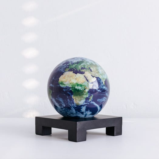 "Earth with Clouds MOVA Globe 4.5"" with Square Base Black"