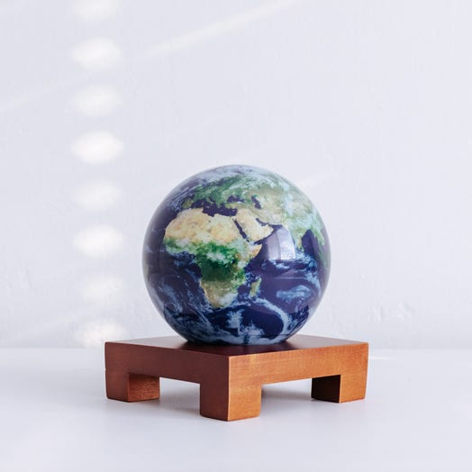 "Earth with Clouds MOVA Globe 4.5"" with Square Base Dark Wood"