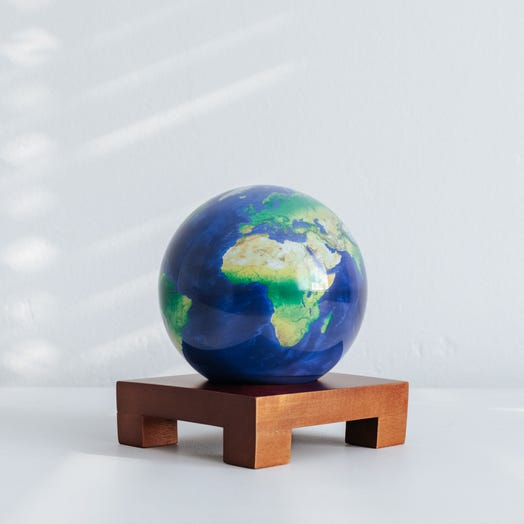 "Earth MOVA Globe 4.5"" with Square Base Dark Wood"