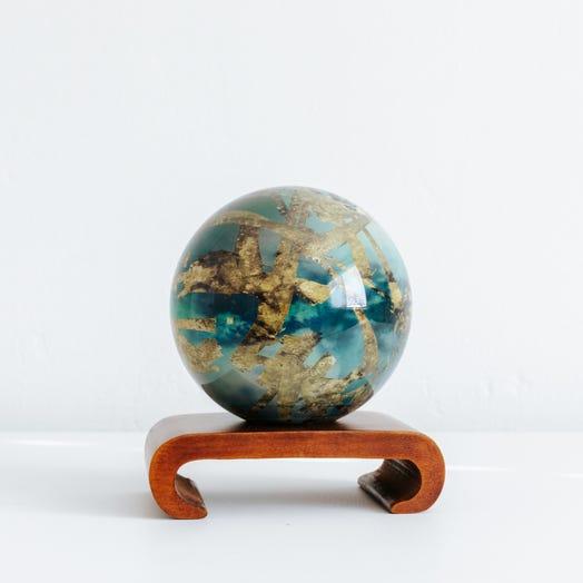 "Titan MOVA Globe 4.5"" with Arched Base Dark Wood"