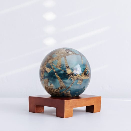 "Titan MOVA Globe 4.5"" with Square Base Dark Wood"