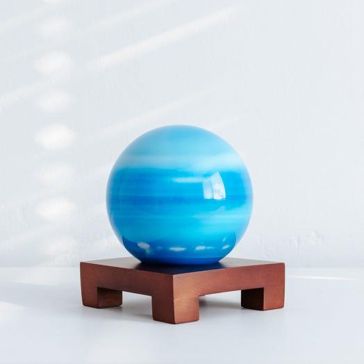 "Uranus MOVA Globe 4.5"" with Square Base Dark Wood"