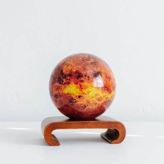 "Venus MOVA Globe 4.5"" with Arched Base Dark Wood"