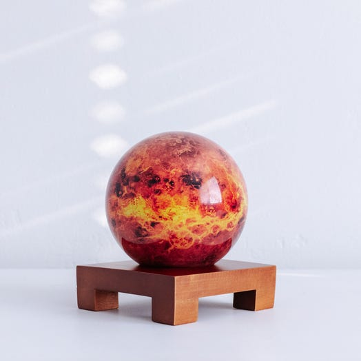"Venus MOVA Globe 4.5"" with Square Base Dark Wood"