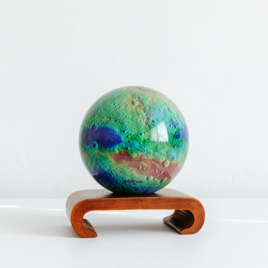 "Vesta Asteroid MOVA Globe 4.5"" with Arched Base Dark Wood"