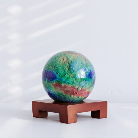 "Vesta Asteroid MOVA Globe 4.5"" with Square Base Dark Wood"
