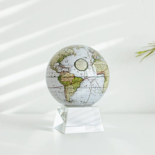 """Antique Terrestrial White MOVA Globe 4.5"""" with Crystal Base"""