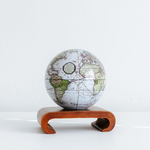 """Antique Terrestrial White MOVA Globe 4.5"""" with Arched Base Dark Wood"""
